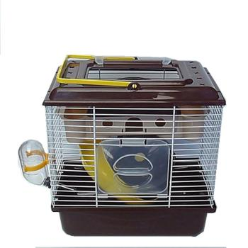 Portable Heighten Single Layer Pet Syrian Hamster Cage with Cover Running Wheel Bowl for Small Habitat Guinea Pigs Mice Habitat 2