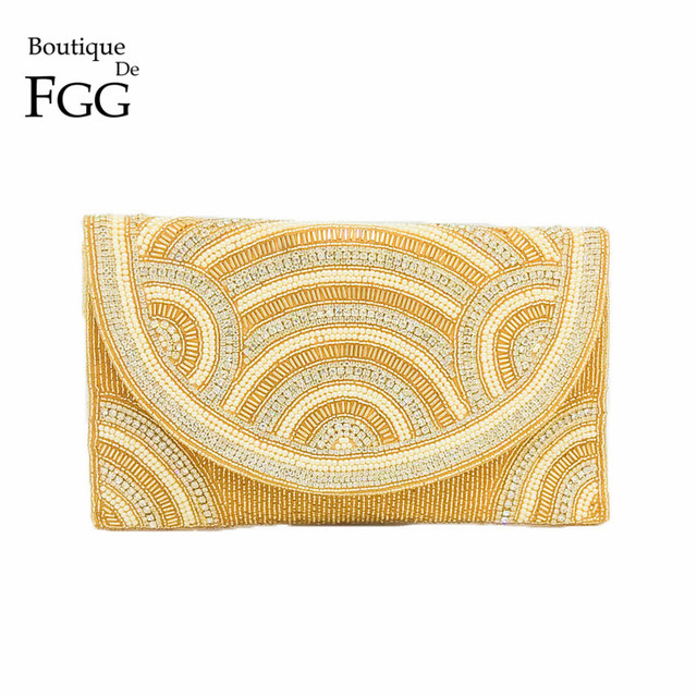 Boutique De FGG Elegant Indian Handmade Women Beaded Gold Evening Clutch Bag Wedding Party Prom Crystal Envelope Purse Handbag