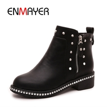 ENMAYER Women Ankle boots Ladies High heels Fashion boots Pointed toe Shoes women Causal Shoes Suede Thick heel Size 34-43 CR411 недорого