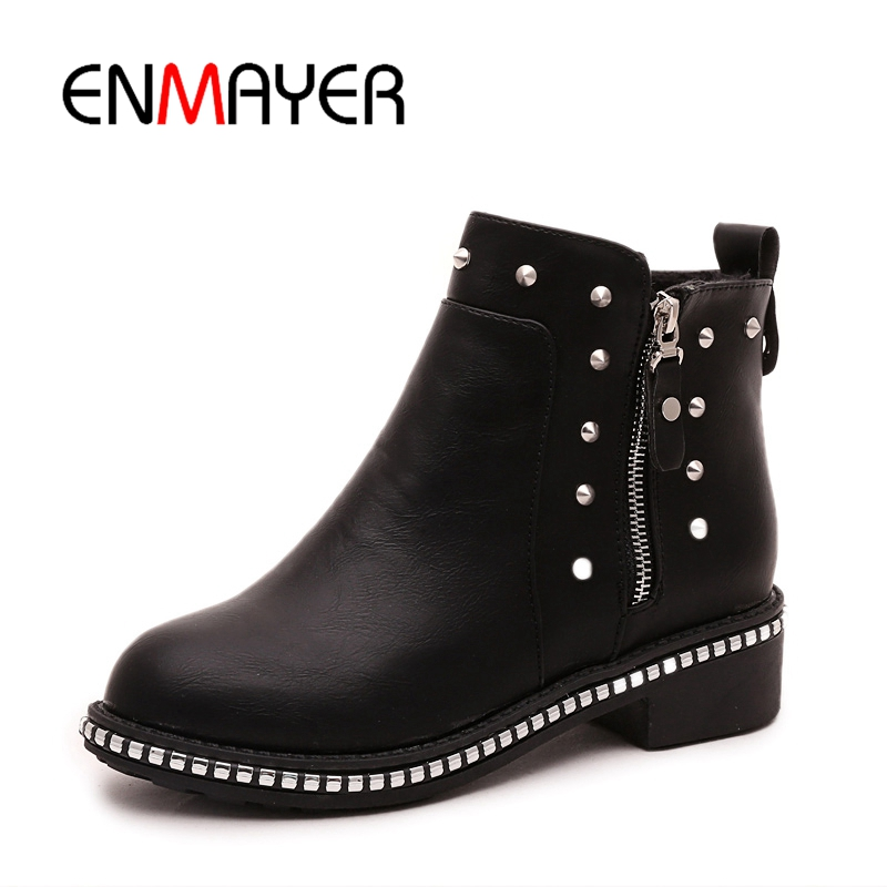 ENMAYER Women Ankle boots Ladies High heels Fashion boots Pointed toe Shoes women Causal Shoes Suede Thick heel Size 34-43 CR411