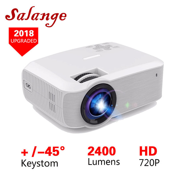Salange T23K Mini LED Projector 2400 Lumens 1280*720 Video Beamer HDMI VGA USB Home Theater Option Android 7.1 and T22 Proyector