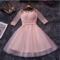 Cheap Short Knee Length Cocktail Dresses Half Sleeves Sheer Neck Lace Appliques Light Pink / Silver Gray Vestidos Coctel 2016