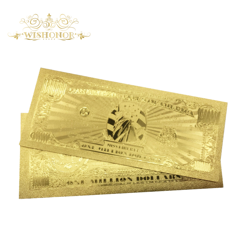 10 pçs/lote eua notas de ouro 1 milhão de dólares notas de nota em 24 k ouro dinheiro de papel para a coleção e presente de negócios