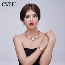 CWEEL Mujeres Oro Imitado Cristal de La Joyería De Moda Nupcial Collar Pendientes Pulsera Anillos Conjuntos de Accesorios Del Vestido
