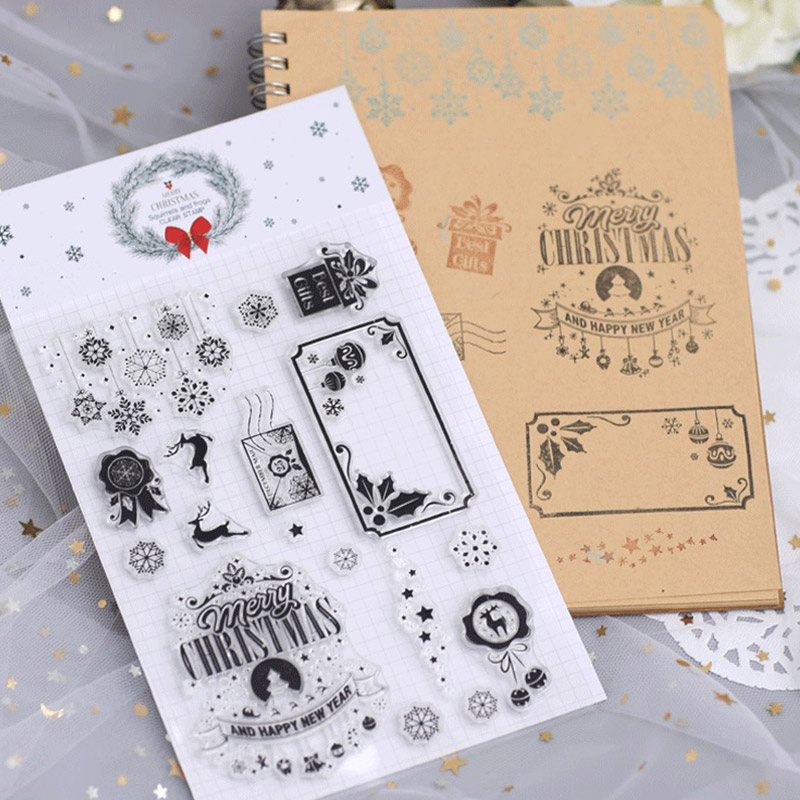 Happy New Year Gifts Transparent Rubber Stamps Silicone Seals for Scrapbooking DIY Photo Album Embossing Folder Paper Template in Stamps from Home Garden