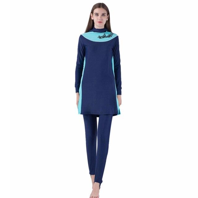52c8721a61f New Blue Muslim Sunscreen Long Sleeve Swimsuit Middle Eastern Islamic Ladies'  Arab Islam Modest Swimwear Beach Clothes
