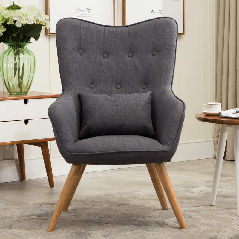 Mid Century Modern Style Armchair Sofa Chair Legs Wooden Linen Upholstery Living Room Furniture Bedoorm Arm