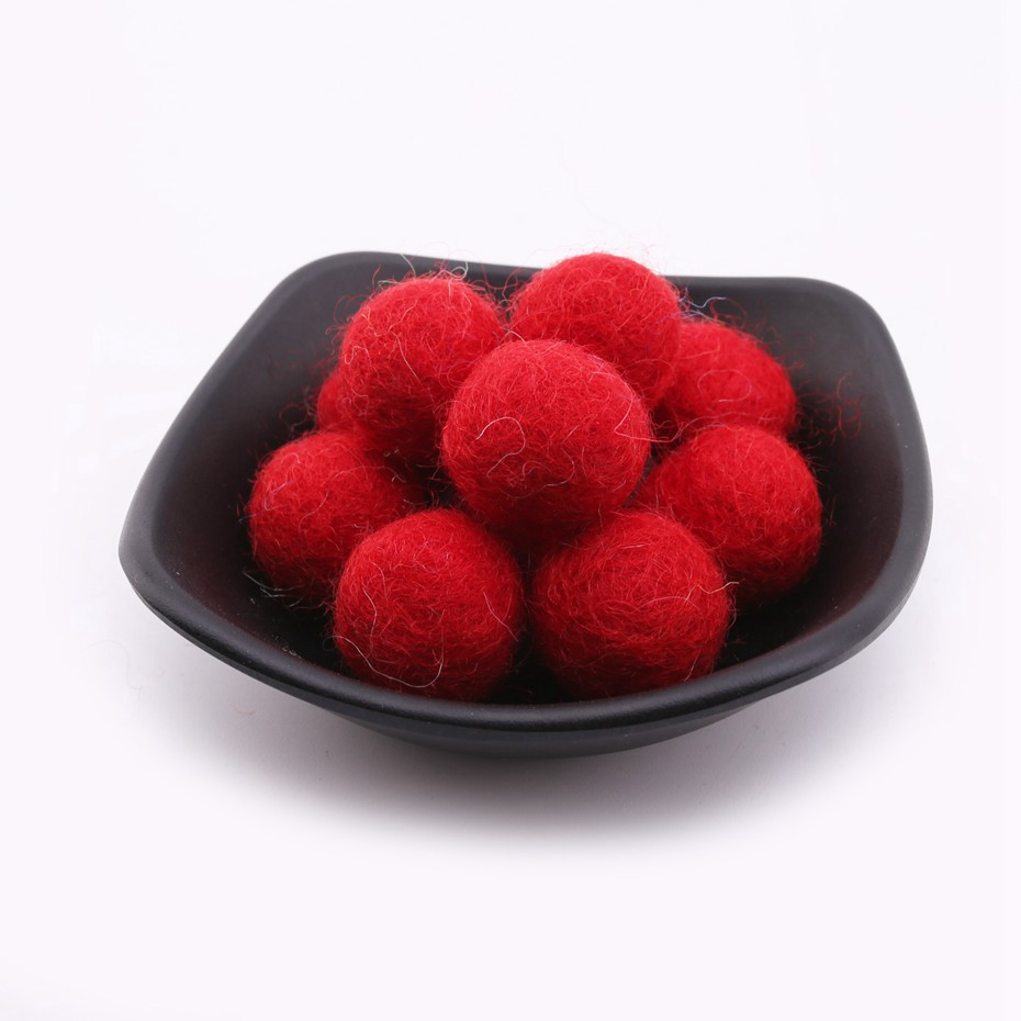 10pcs 20mm 100% Wool Felt Balls Decor Nordic Style Nursery Decor Jewelry Assorted Making Baby Rattles  Blush Nordic Style Beads