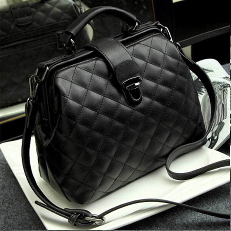 Women Handbag Genuine Leather Handbags Small Doctor Bag Plaid Rivet Crossbody Handbags Casual Famous Female Shoulder Sling Bags