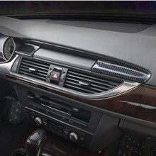 Car Console Navigation Panel Air Cover Trim Carbon Fiber Sticker Gear Strips For Audi A6 C7 A7 2012-2018 Interior Accessories