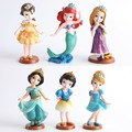 Disney Toys For Kids Classic Cartoon Dolls Anime Princess Mermaid Cinderella Snow White Plastic Figure 6Pcs/Set Tq0142