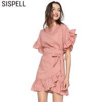Sispell不規則な花びらスリーブ夏ドレス女性スリムレース付きチュニック裾フリル2018 elegentドレストップス韓国ファッション新