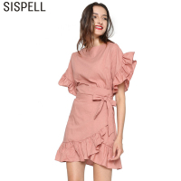 SISPELL 2017 Petal Sleeve Irregular With Adjust Belt Summer Dress Women Tops Hem Ruffles Dresses Female