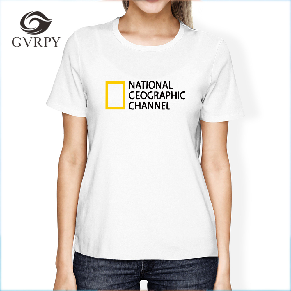 NATIONAL GEOGRAPHIC CHANNEL printed t shirt women cool streetwear T-shirts female summer short sleeve O-neck music top tee shirt