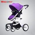 Bebé Cochecito Kinderwagen Cochecito Paisaje de Alta Cochecito de Bebé para Recién Nacido Stoller bebé 3 en 1 Solo Asiento de Coche de Los Cabritos 4 ruedas