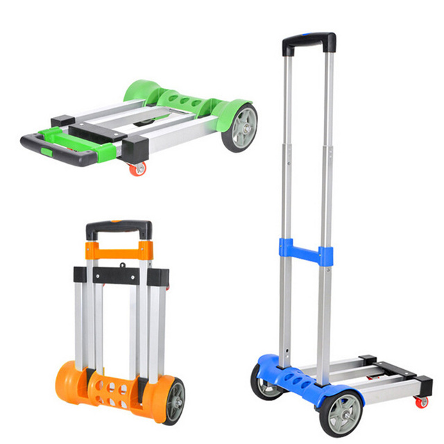 Multifunctional Retractable Shopping Trolley Portable Foldable Hand Trolley Carts Aluminum  Alloy Travelling Luggage Carts