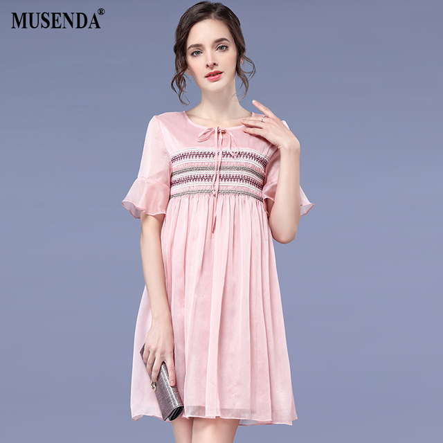 Musenda Plus Size Women Pink Chiffon Short Flare Sleeve Empire Waist