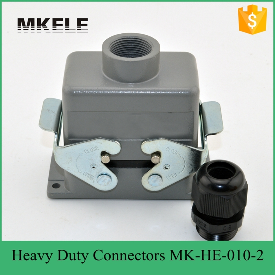 16A 10-Pin Universal Heavy Duty Auto Electrical Connectors For Lighting Aircondition And Brake System MK-HE-010-2 heavy duty connectors hdc he 024 1 f m 24pin industrial rectangular aviation connector plug 16a 500v