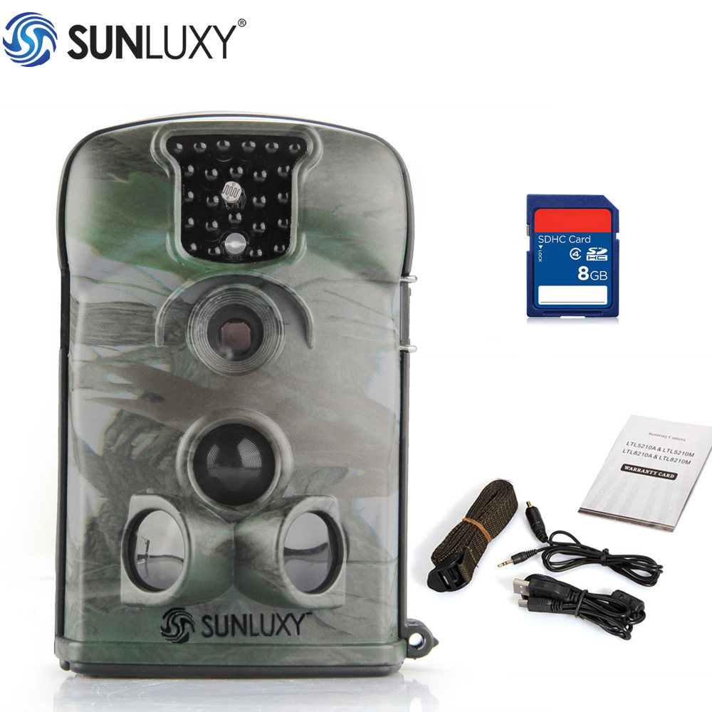 SUNLUXY Hunting Camera with 8G SD Card 12MP Night Vision Digital Infrared Wildlife Camera Hunting Scouting Trail Camera 5210A 2016 new qlm 940n 12mp 940nm night vision wildgame trial camera hunting cameras with 8gb sd card free shipping