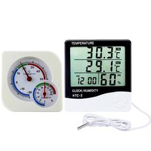 Buy online Set of 2 Plastic Digital Thermo-Hygrometer Alarm Clock & Mechanical Thermometer Hygrometer Indoor Outdoor
