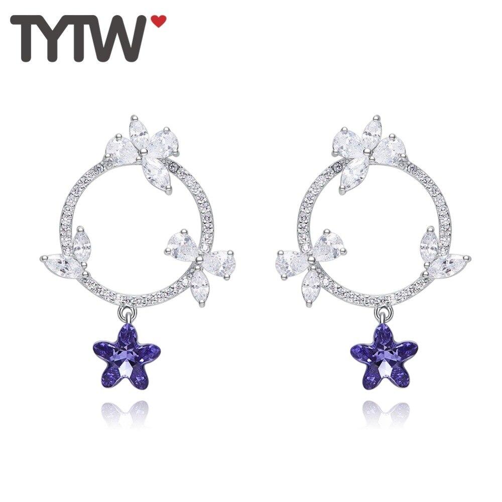 TYTW 925 argent coréen étoile cristal boucles d'oreilles fille mariage anniversaire exquis Zircon boucle d'oreille bijoux cadeau pour les femmes