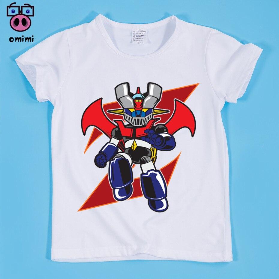 Новый, детская Япония комиксов Mazinger Z ретро печати футболки ребенок мультфильм ретро Mazinger Забавные футболки для мальчиков и девочек Милая о...