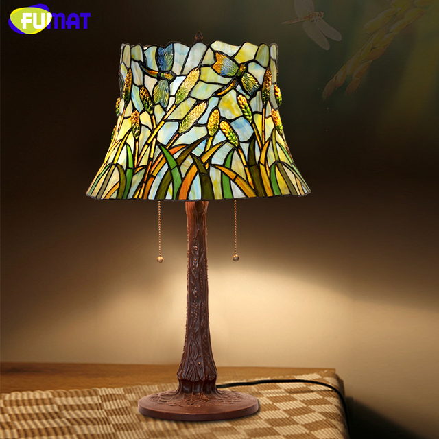 Fumat artistic glass table lamp european pastoral stained glass fumat artistic glass table lamp european pastoral stained glass green dragonfly wheat living room bedroom bedside aloadofball Gallery