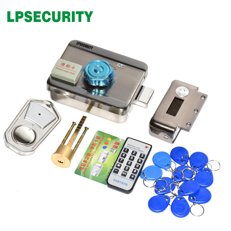 LPSECURITY 2 Or 10 Tags Door & Gate Lock Castle Access Control Electronic Integrated RFID Door Rim Lock RFID Reader For Intercom