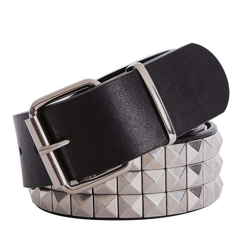 Shiny Pyramid Fashion Rivet   Belt   Men&Women's Studded   Belt   Punk Rock With Pin Buckle Free Shipping