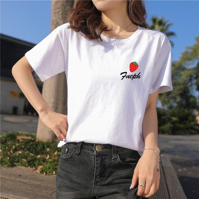 Taille Grande Simple Fraise Tee 2019 Qimage Shirts 5xl Impression Femme À Shirt Manches Courtes Femmes T Décontracté Nouveau Hauts F1TlJcu3K