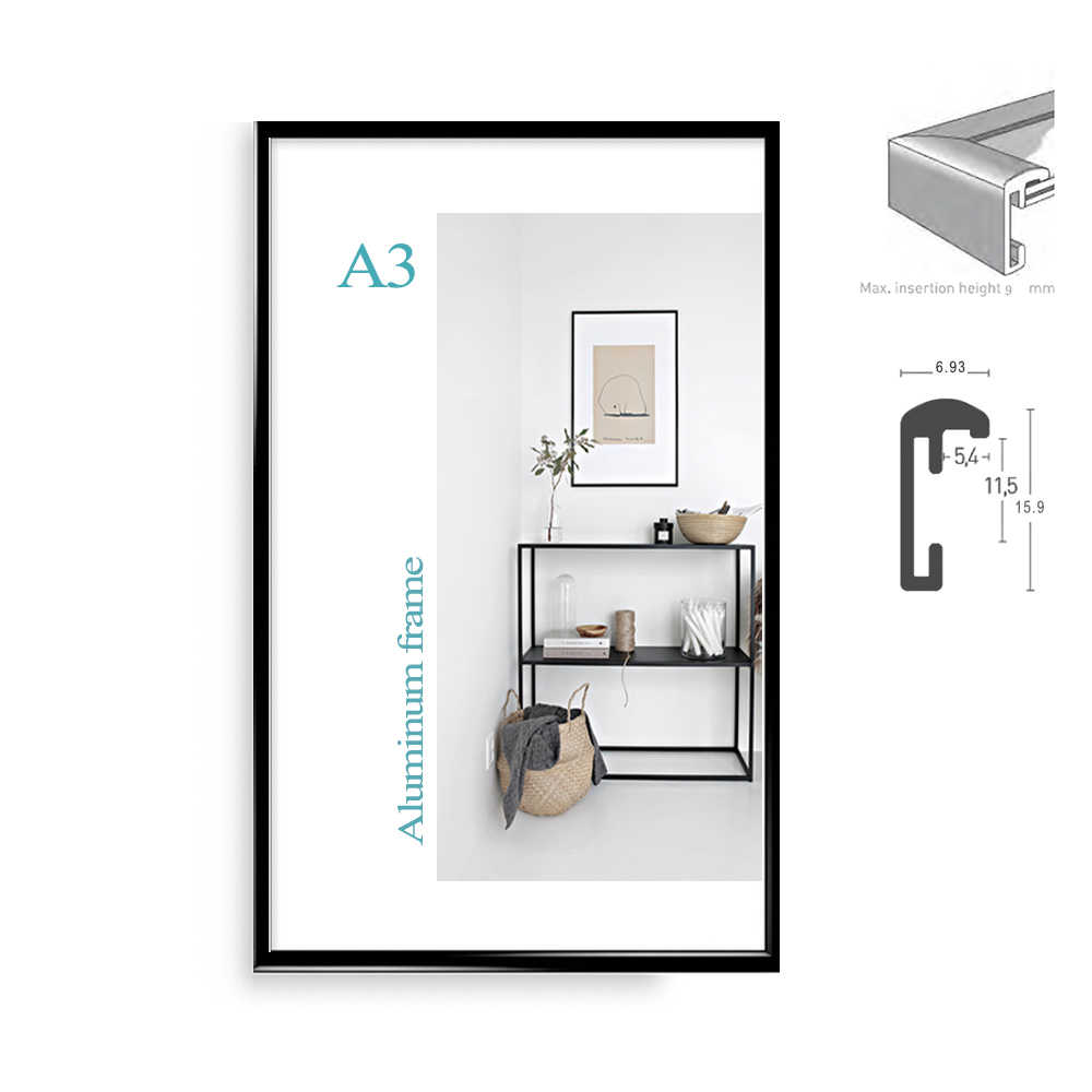 "Classic minimalist aluminum A5  A4  A3  8.5x11"" 20x30cm poster frame for wall hanging metal photo frame certificate frame"
