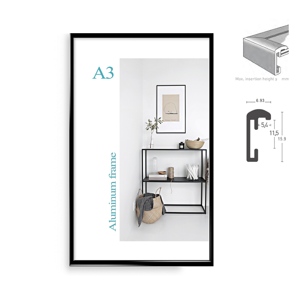 Classic minimalist aluminum A4 A3 poster frame for wall hanging metal photo frame certificate frame