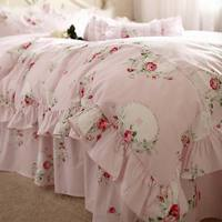 Princess pink floral bedding sets adult girl,twin full king queen home textiles 100%cotton bed skirt pillow case quilt cover