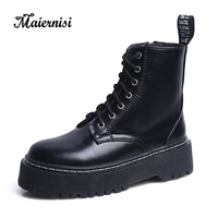 MAIERNISI Women Boots Lace Up Flat Biker Combat Black Boots Shoes Woman botas Ladies Martin Boots Female winter boot