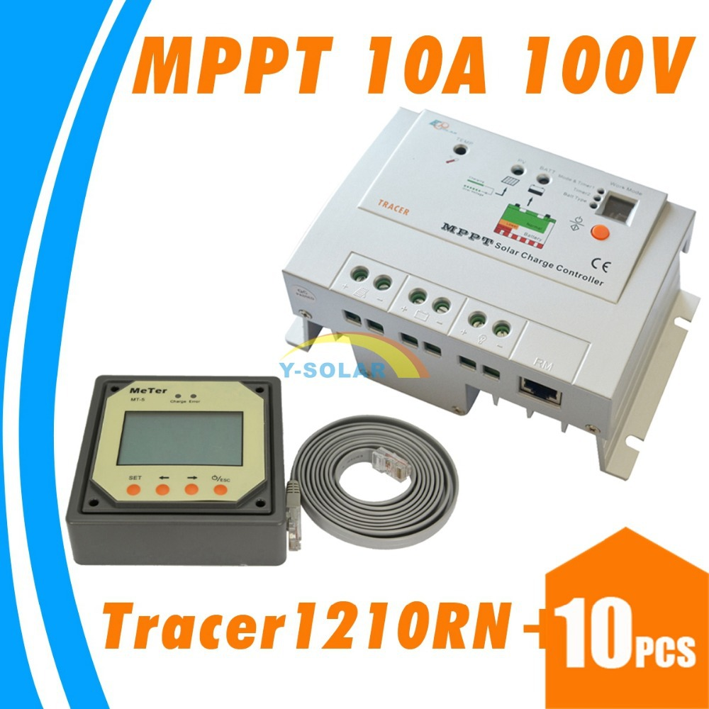 ФОТО 10PCS10A 100V MPPT Solar Controller with Remote Meter 12V 24V Auto Work Solar Battery Panel Charge Regulator Tracer-1210rn Cheap