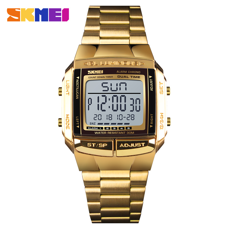 <font><b>SKMEI</b></font> <font><b>1381</b></font> Military Sports Watches Electronic Mens Stainless Steel Luxury Led Clock Waterproof Digital Watch Relogio Masculino image