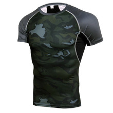 Camouflage Men's T-shirt Compression Running Shirt Men Quick Dry Short Sleeve Soccer Training T Shirt Gym Fitness Tight Rashgard quick dry fitted round neck short sleeve color block spliced men s training t shirt