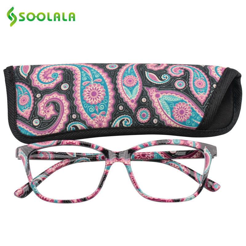 SOOLALA Womens Pocket Printed Reading Glasses With Matching Pouch Cheap Spring Hinge Presbyopic Reading Glasses +1.0 To 4.0