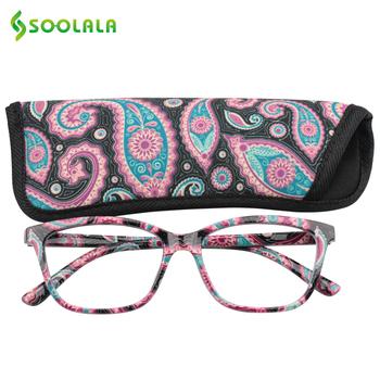 SOOLALA damskie kieszonkowe drukowane okulary do czytania z dopasowanym etui tania sprężyna zawias okulary do czytania dla osób starszych + 1 0 do 4 0 tanie i dobre opinie WOMEN Jasne CN (pochodzenie) Gradient 49-617 3 6cm Z tworzywa sztucznego Womens Pocket Printed Reading Glasses occhiali da lettura leesbrillen