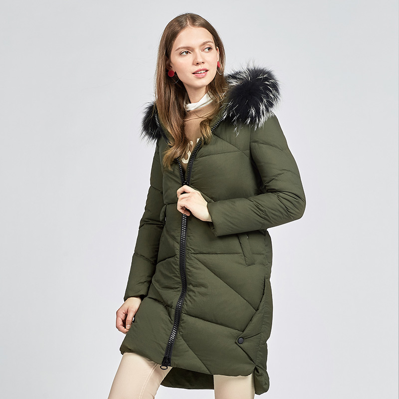 Detachable real raccoon fur collar hooded   down     coat   outerwear women medium long slim   down   jacket 2019 autumn winter plus size