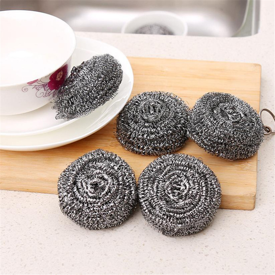 New TENSKE 4Pcs Multifunctional Stainless Steel Wire Ball kitchen Scourer Brush Pot Dish Bowl Pot Brush Household Cleaning Tools