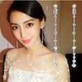 Novia de La boda de La Joyería 925 Pendientes de Plata de ley Cubic Zirconia Pendientes Earring AAA Circón Pendientes Largos de La Borla Femenina Regalos