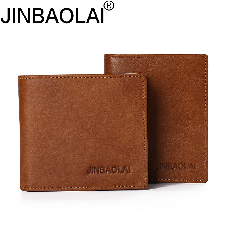 Original Brand JINBAOLAI Men Genuine Leather Wallets Fashion Short Solid Purse Cow Leather With Coin Pocket Wallet For Men