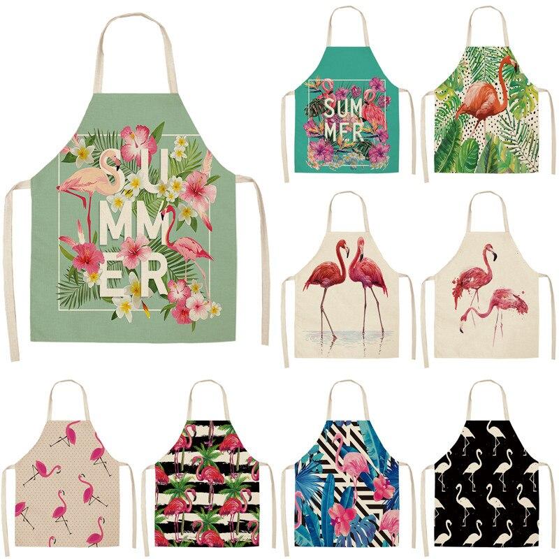 1Pcs Flamingo Pattern Kitchen Aprons Woman Adult Kids Cotton Linen Bibs Home Cooking Bbq Apron Cleaning Accessory 53*65cm A1158