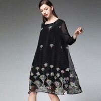 Spring Summer midi dress Ladies Plus Size elegant floral Embroidery Chiffon Dress long sleeve empire party Dress vestidos XXXXL