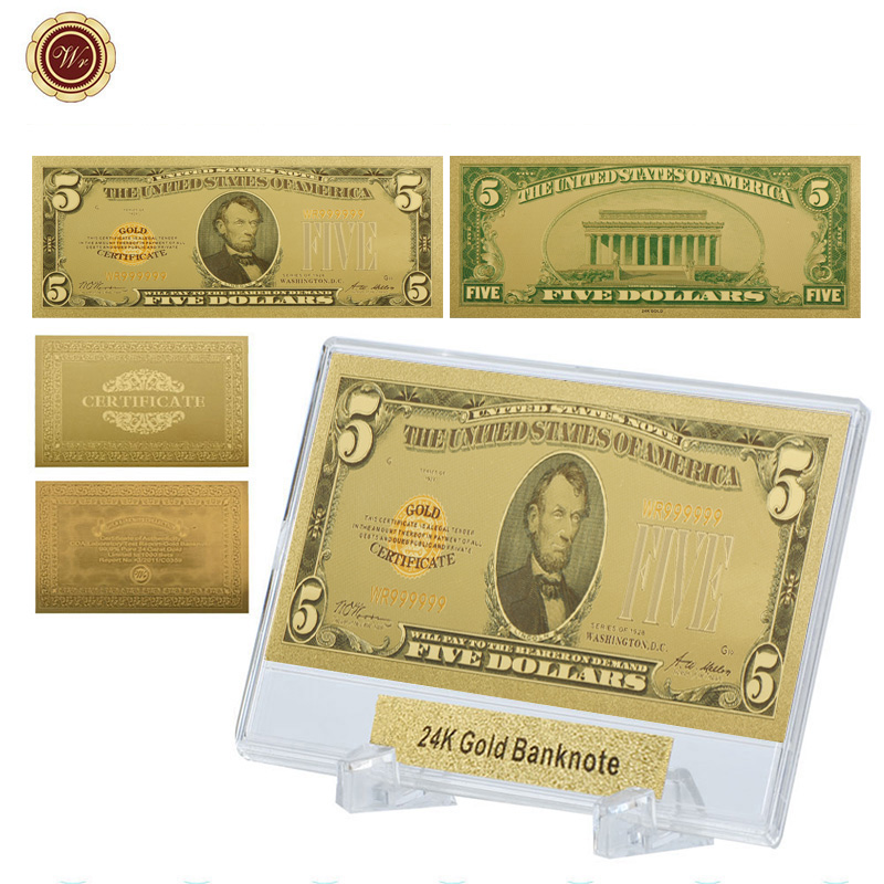 5pcs Business Souvenir Gifts 10 Dollar Color 24k Gold Banknote USD 10 Money