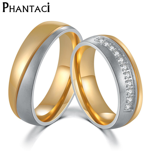 Two Color 6MM Stainless Steel Wedding Ring For Men Women Silver Gold
