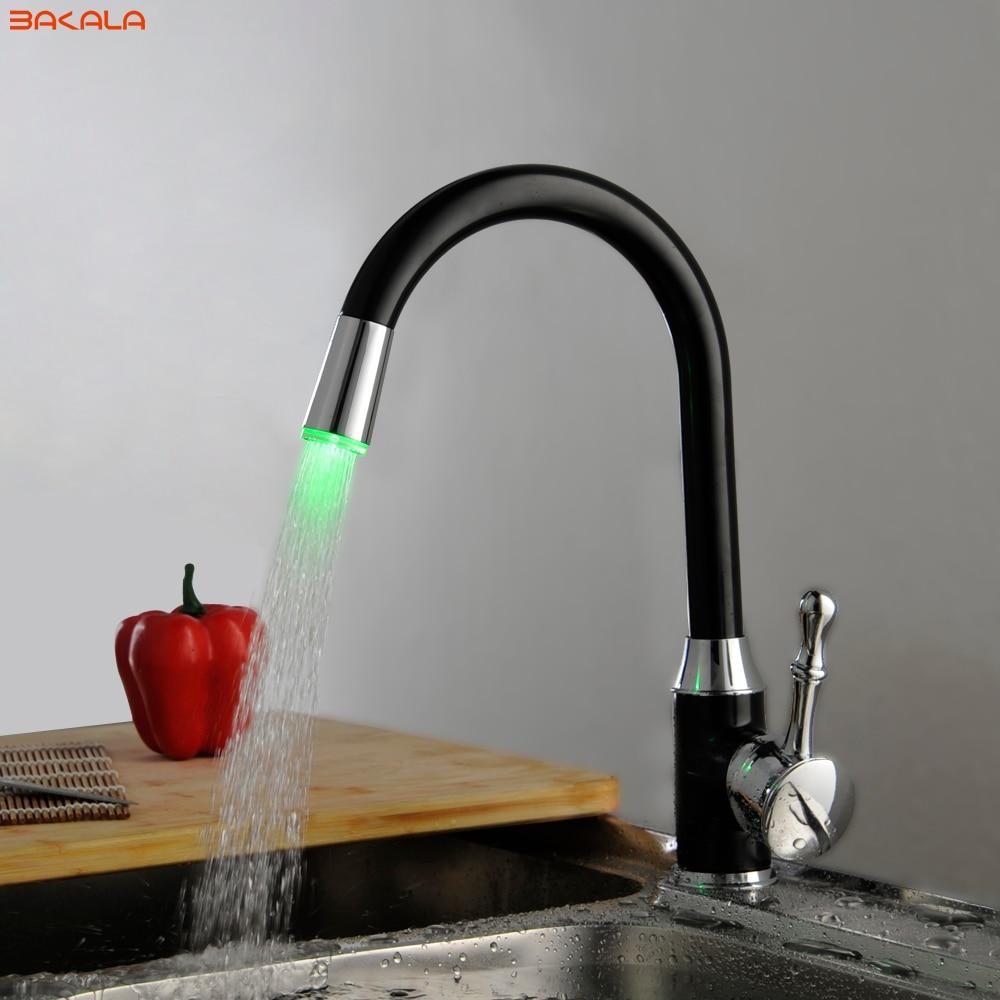 BAKALA Black Led Light Tap Bathroom Kitchen Faucets Swivel Sink Temperature Sensor Color Led Mixer Tap