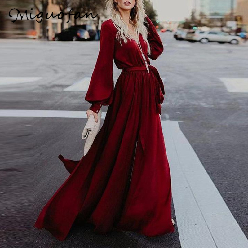 Платье Miguofan женское, длинное, с треугольным вырезом и оборками, для вечеринок, 2019|Платья|   | АлиЭкспресс - Платья