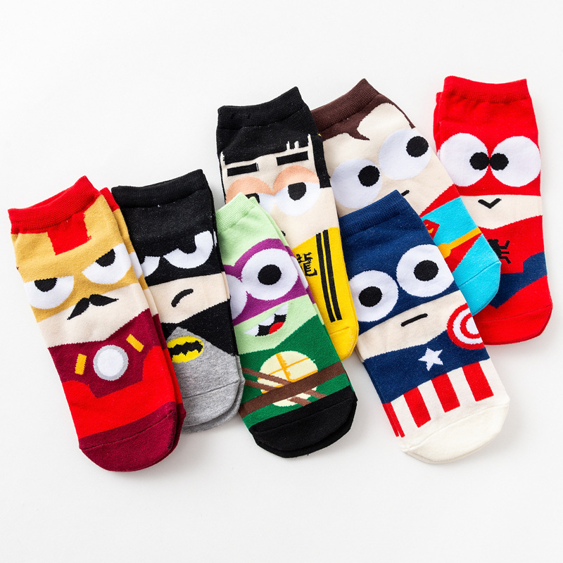 7 Pair/lot Men Harajuku Ankle Socks Novelty Summer Short Socks Cartoon Ninja Batman Superman SpiderMan Captain America Avengers